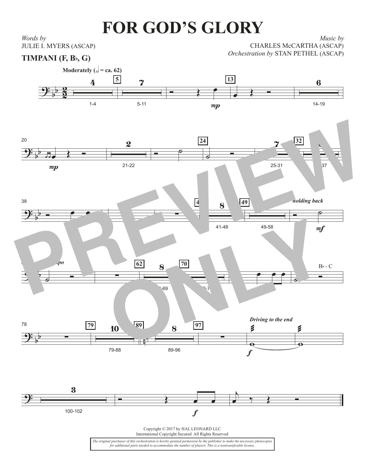 Charles McCartha For God's Glory - Timpani sheet music notes and chords. Download Printable PDF.
