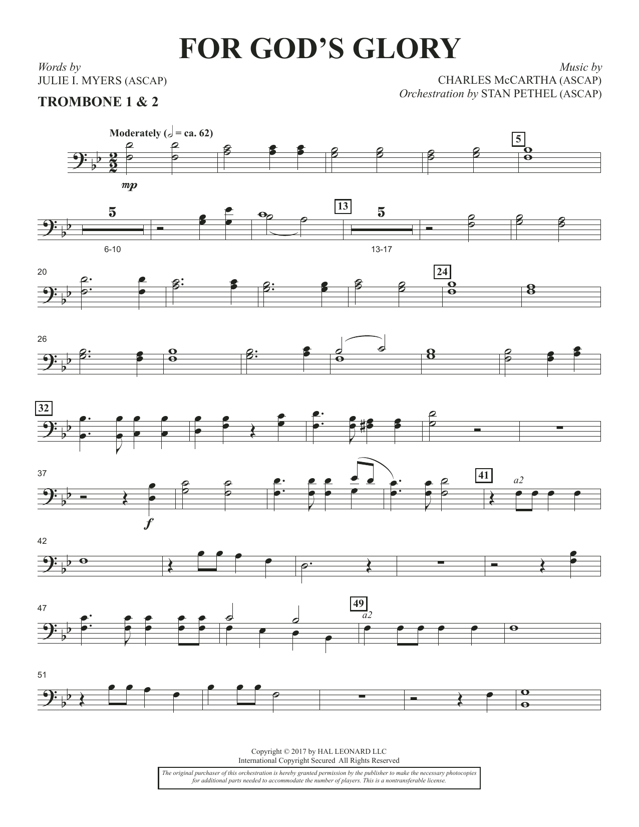 Charles McCartha For God's Glory - Trombone 1 & 2 sheet music notes and chords. Download Printable PDF.