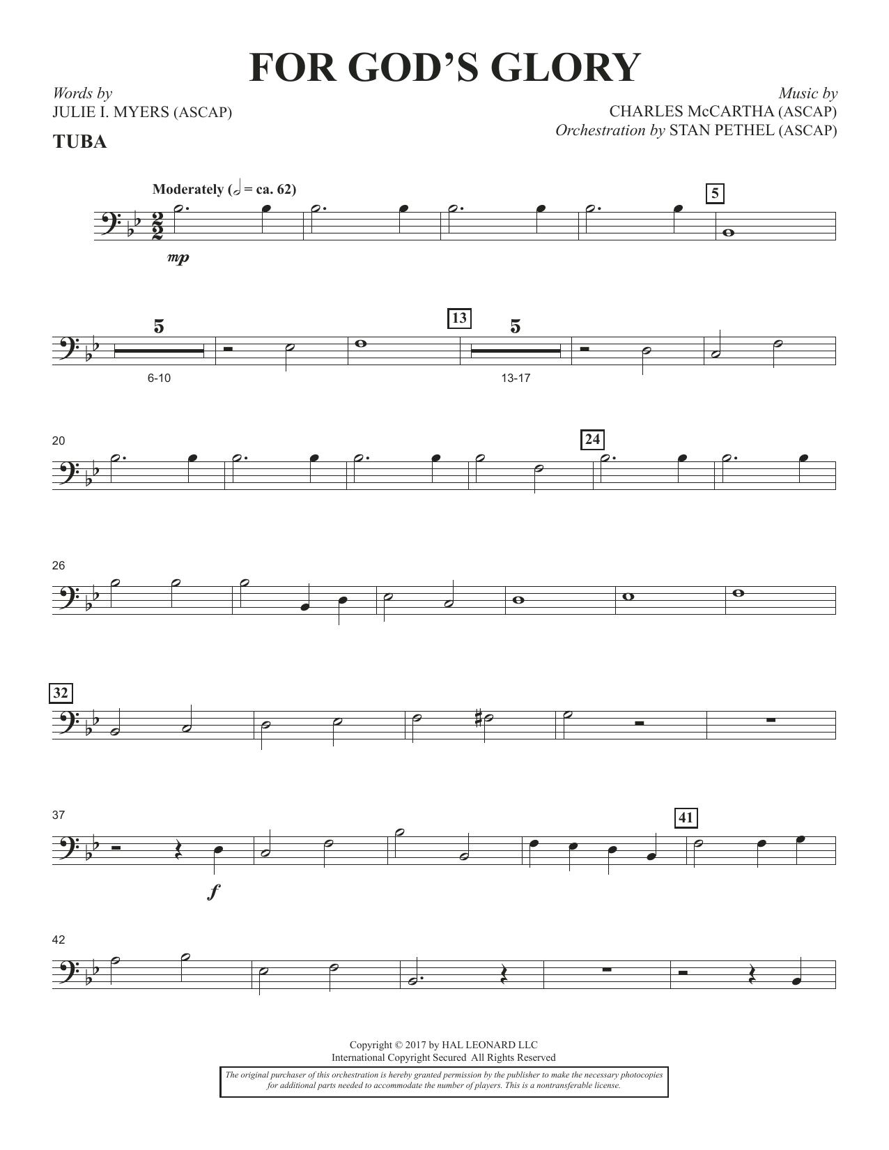 Charles McCartha For God's Glory - Tuba sheet music notes and chords. Download Printable PDF.