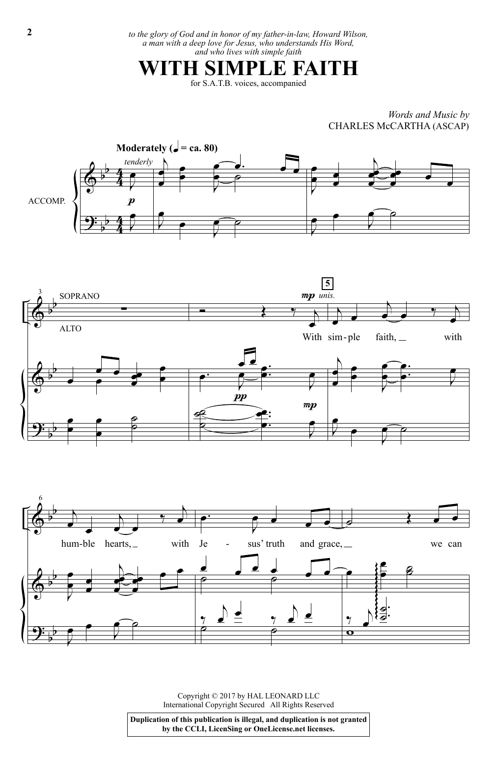 Charles McCartha With Simple Faith sheet music notes and chords. Download Printable PDF.