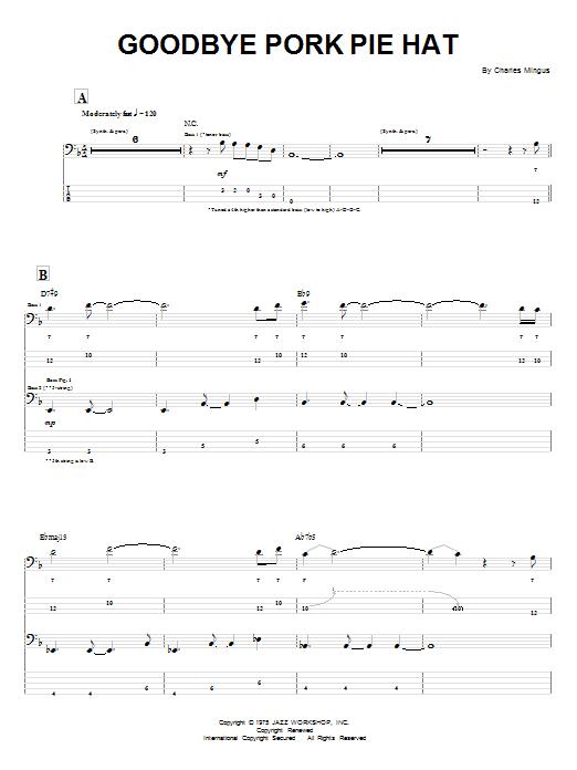 Charles Mingus Goodbye Pork Pie Hat sheet music notes and chords. Download Printable PDF.