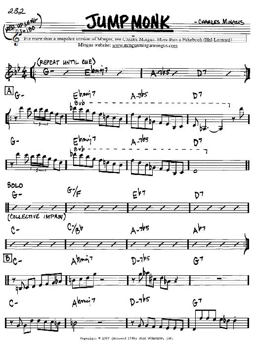 Charles Mingus Jump Monk sheet music notes and chords. Download Printable PDF.