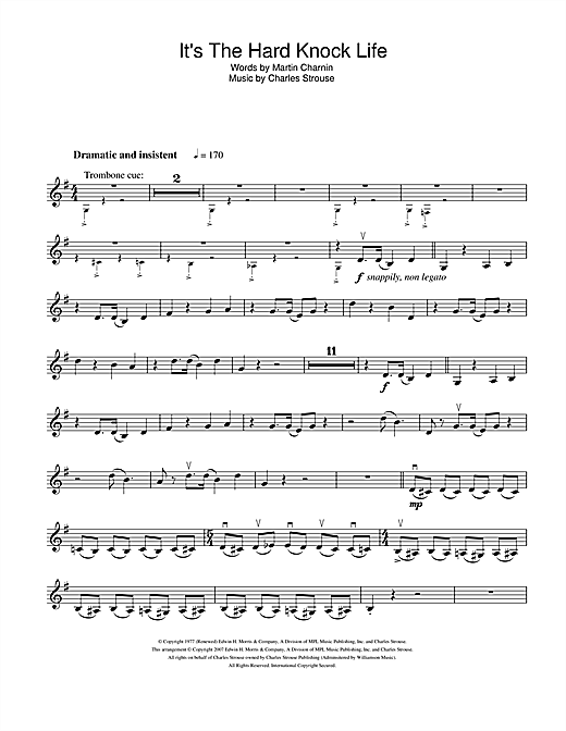 Charles Strouse It's The Hard-Knock Life (from Annie) sheet music notes and chords. Download Printable PDF.