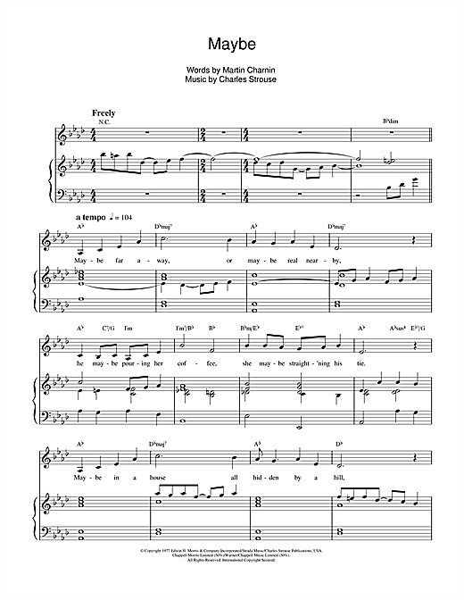 Charles Strouse Maybe (from Annie) sheet music notes and chords. Download Printable PDF.