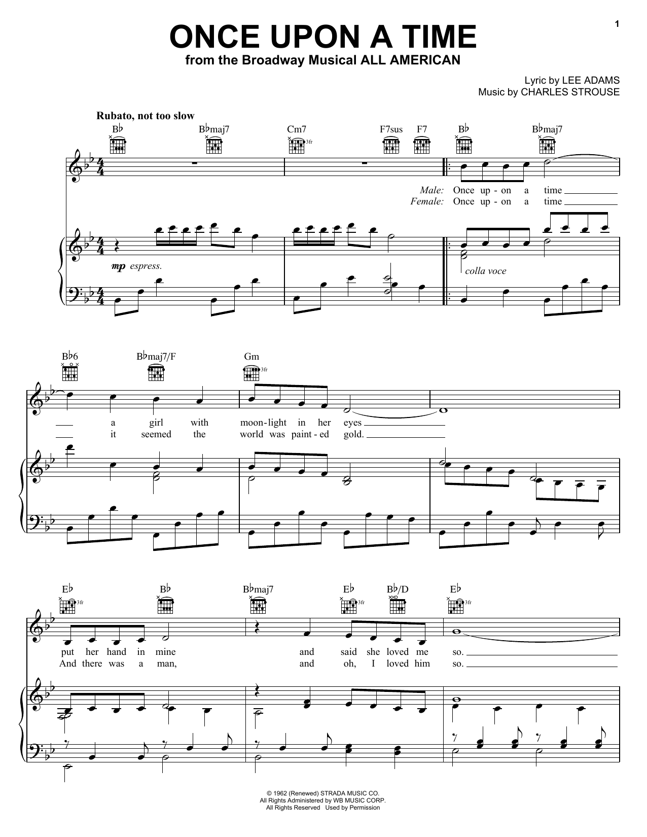 Charles Strouse Once Upon A Time sheet music notes and chords. Download Printable PDF.