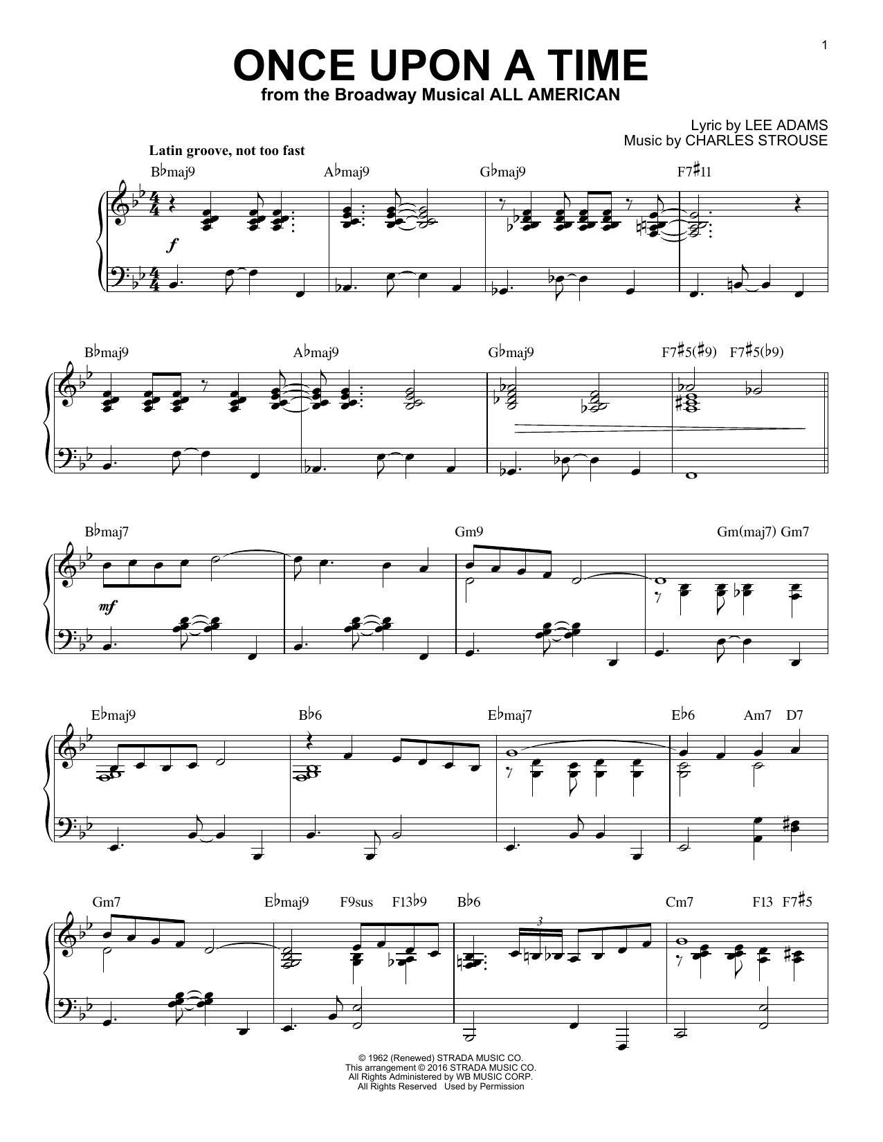 Charles Strouse Once Upon A Time [Jazz version] (arr. Brent Edstrom) sheet music notes and chords. Download Printable PDF.