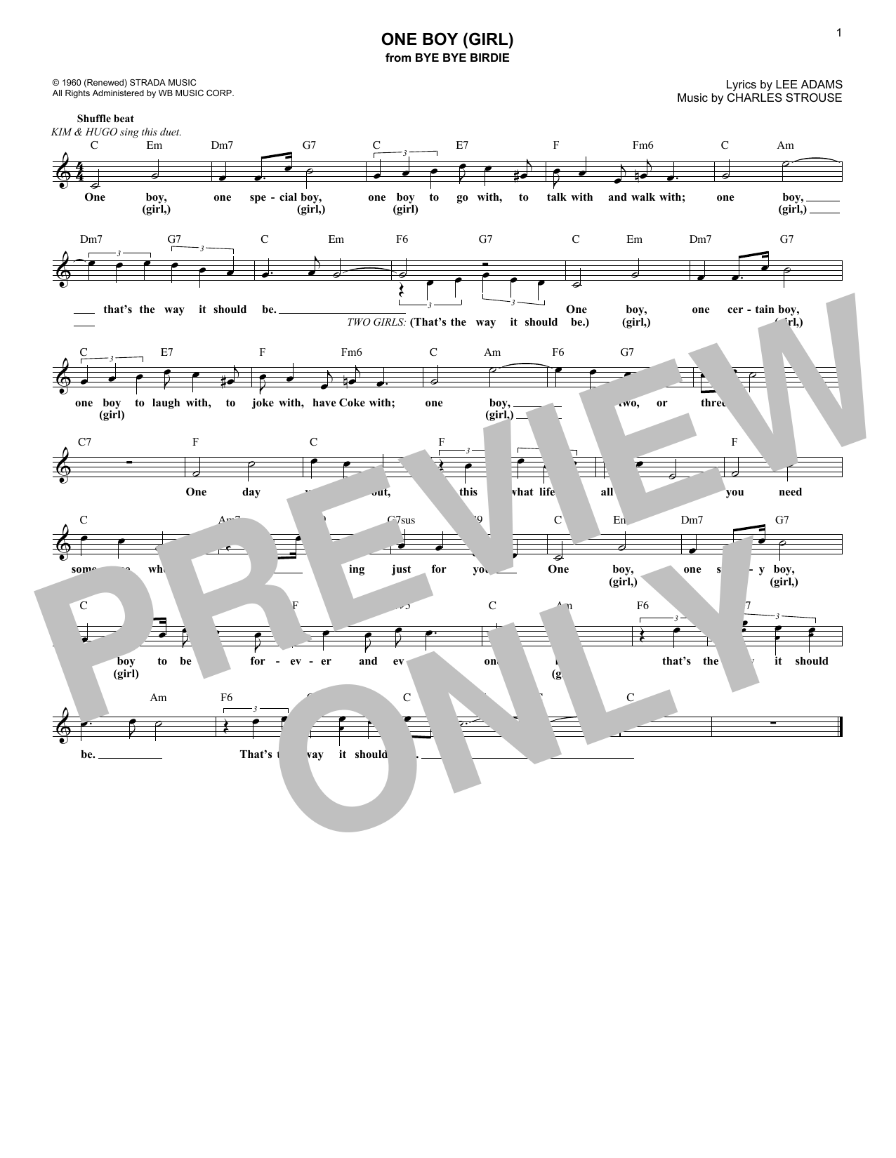 Charles Strouse One Boy (Girl) (from Bye Bye Birdie) sheet music notes and chords. Download Printable PDF.