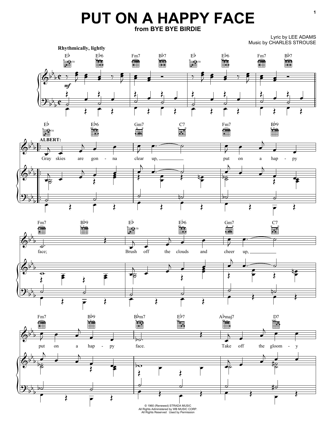 Charles Strouse Put On A Happy Face sheet music notes and chords. Download Printable PDF.