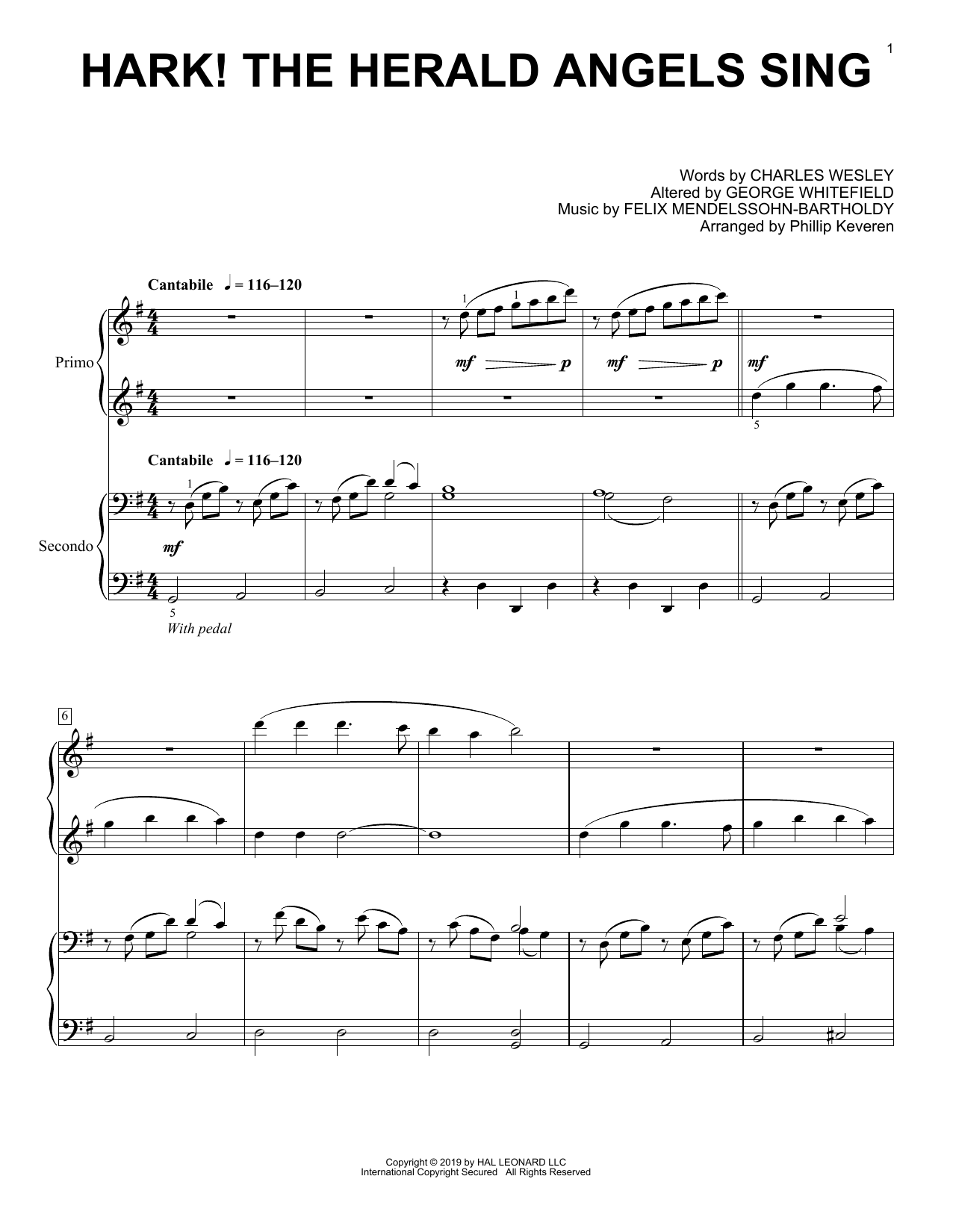 Charles Wesley Hark! The Herald Angels Sing (arr. Phillip Keveren) sheet music notes and chords. Download Printable PDF.