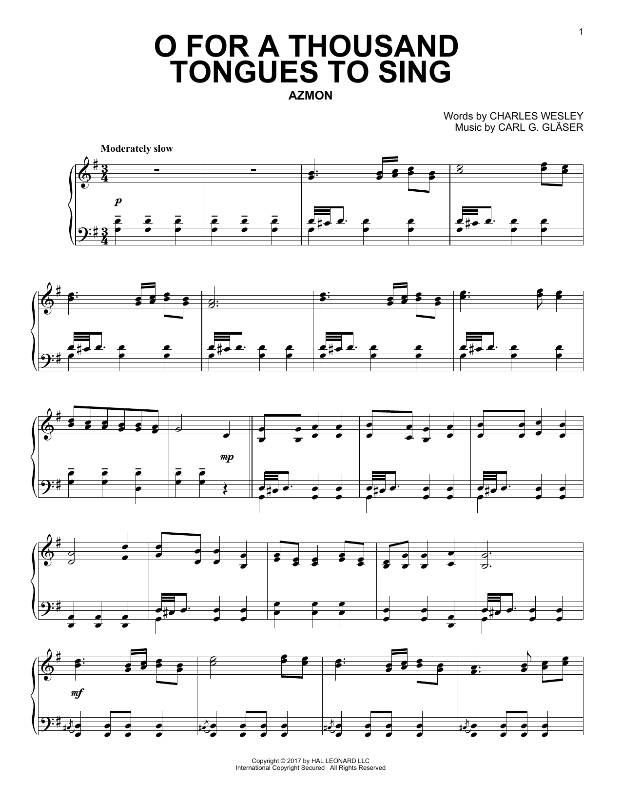 Charles Wesley O For A Thousand Tongues To Sing sheet music notes and chords