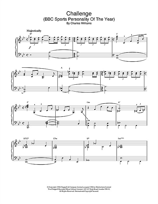 Charles Williams Challenge (BBC Sports Personality Of The Year) sheet music notes and chords. Download Printable PDF.