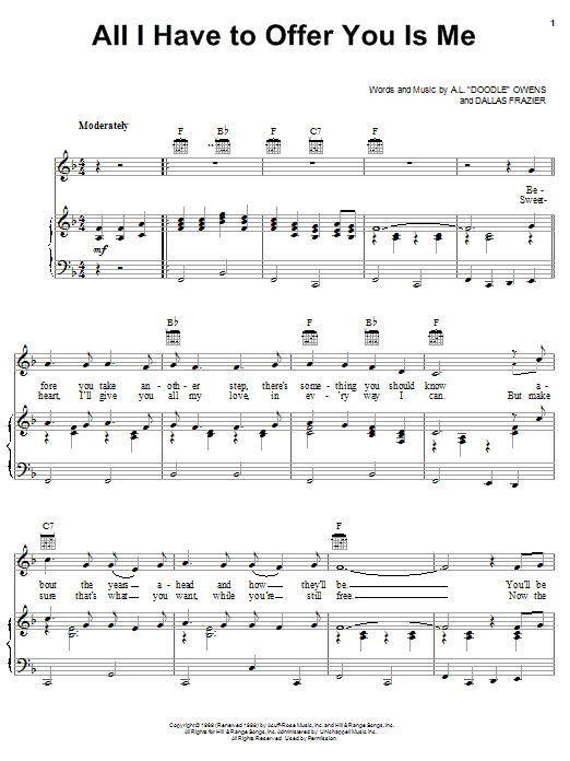 Charley Pride All I Have To Offer You Is Me sheet music notes and chords. Download Printable PDF.