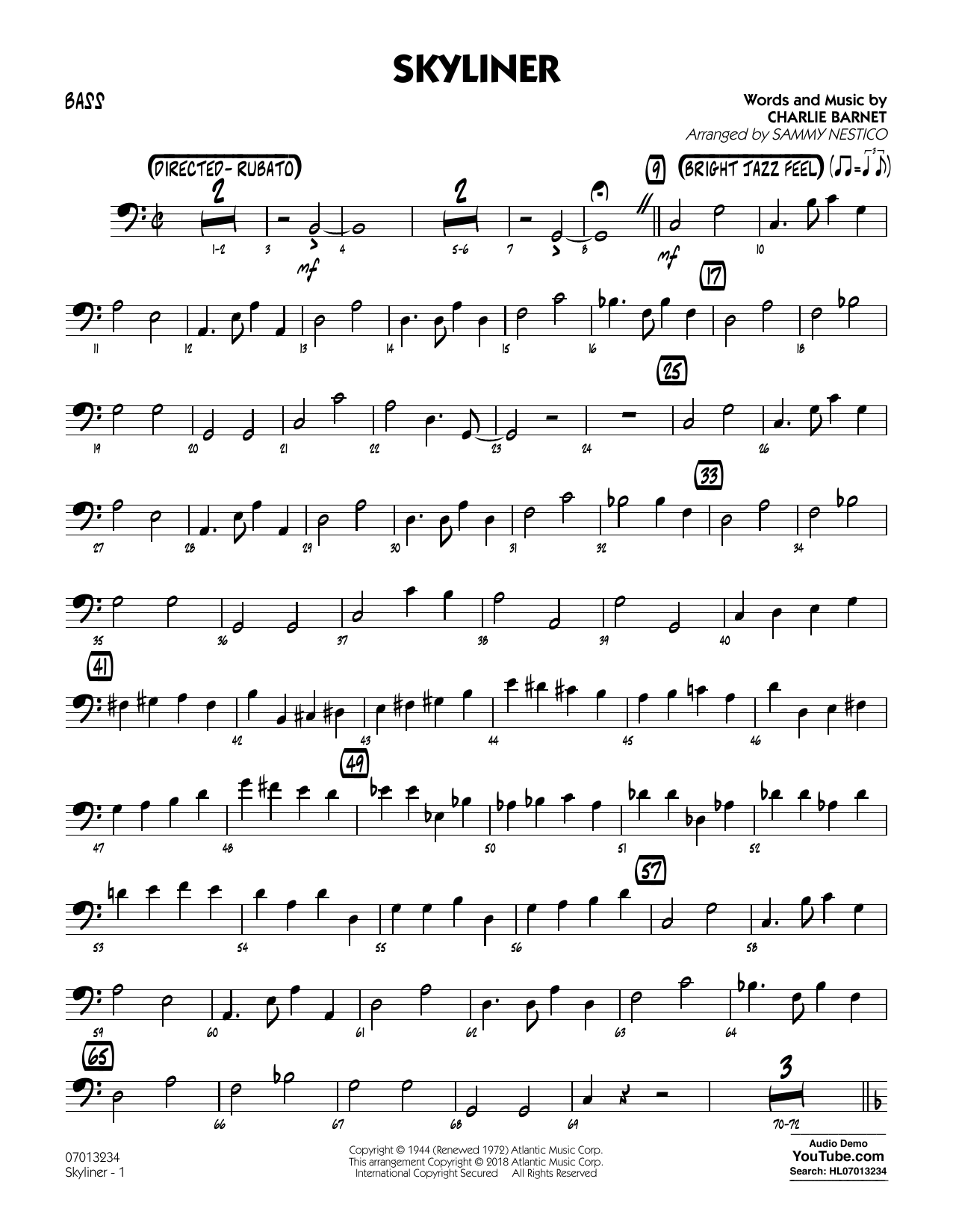 Charlie Barnet Skyliner (arr. Sammy Nestico) - Bass sheet music notes and chords. Download Printable PDF.