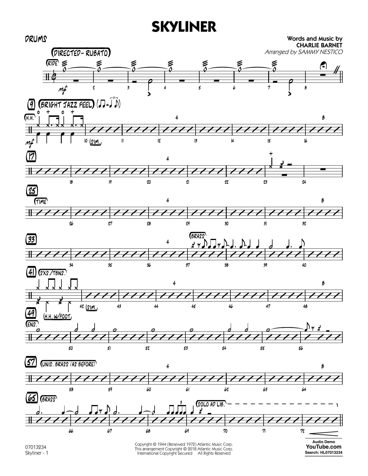 Charlie Barnet Skyliner (arr. Sammy Nestico) - Drums sheet music notes and chords. Download Printable PDF.