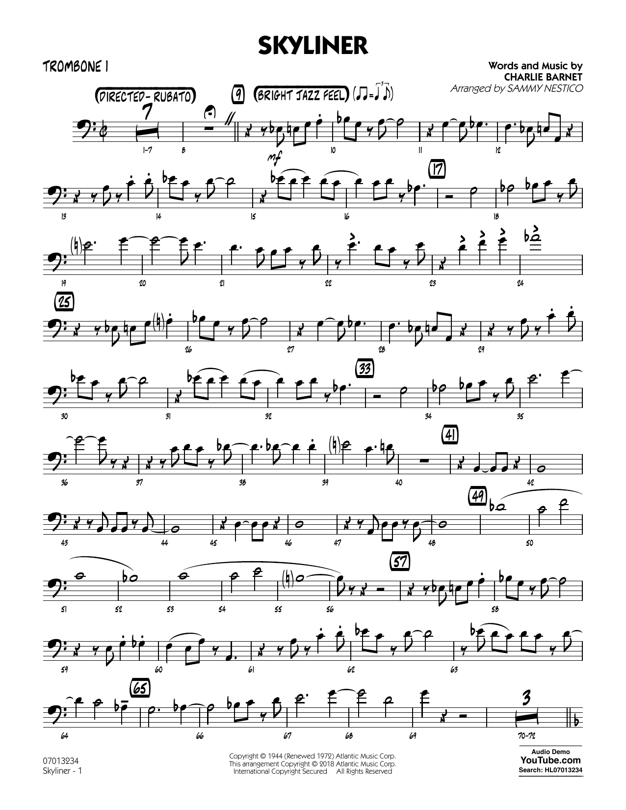 Charlie Barnet Skyliner (arr. Sammy Nestico) - Trombone 1 sheet music notes and chords. Download Printable PDF.