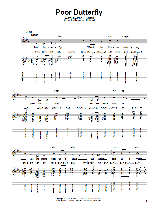 Charlie Christian Poor Butterfly sheet music notes and chords. Download Printable PDF.