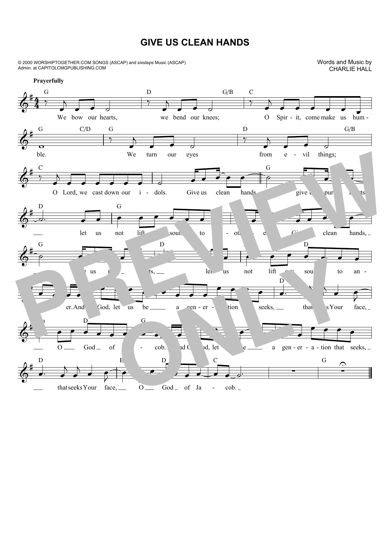 Charlie Hall Give Us Clean Hands Sheet Music Notes, Chords   Download  Printable Solo Guitar Tab PDF Score   SKU 15