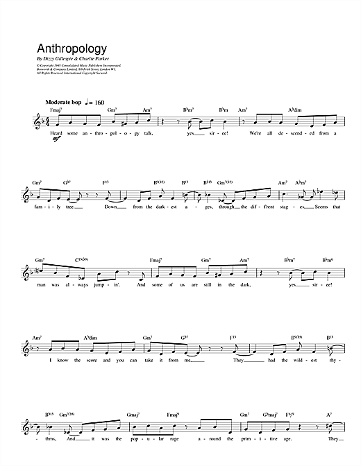 Charlie Parker Anthropology sheet music notes and chords. Download Printable PDF.