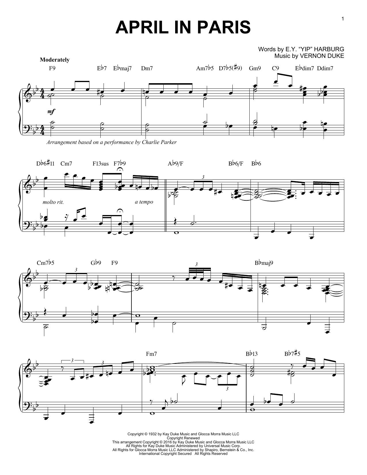 Charlie Parker April In Paris (arr. Brent Edstrom) sheet music notes and chords. Download Printable PDF.