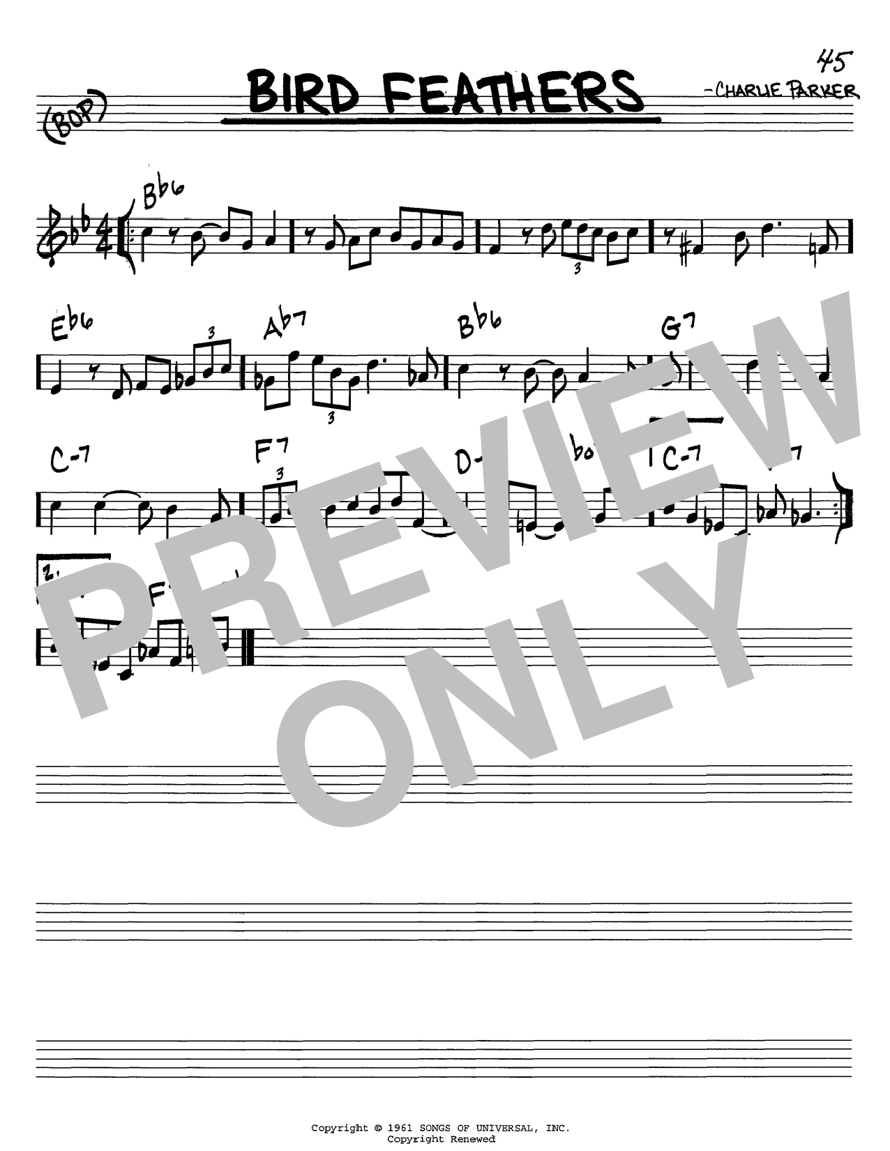 Charlie Parker Bird Feathers sheet music notes and chords. Download Printable PDF.