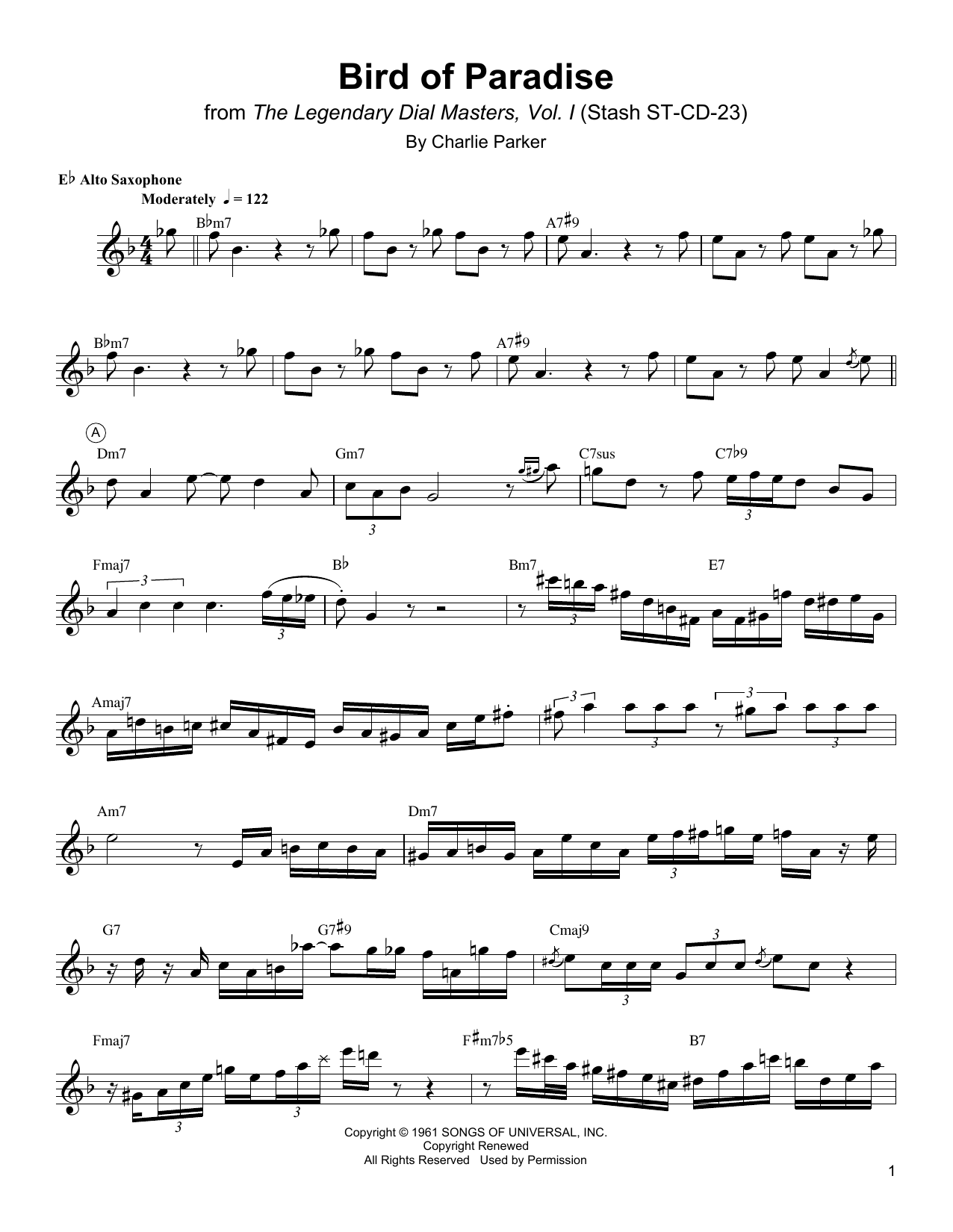 Charlie Parker Bird Of Paradise sheet music notes and chords. Download Printable PDF.
