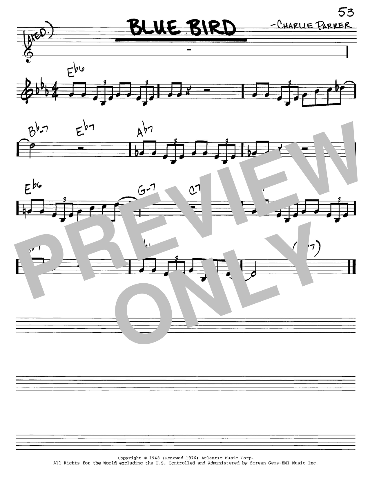 Charlie Parker Blue Bird sheet music notes and chords. Download Printable PDF.