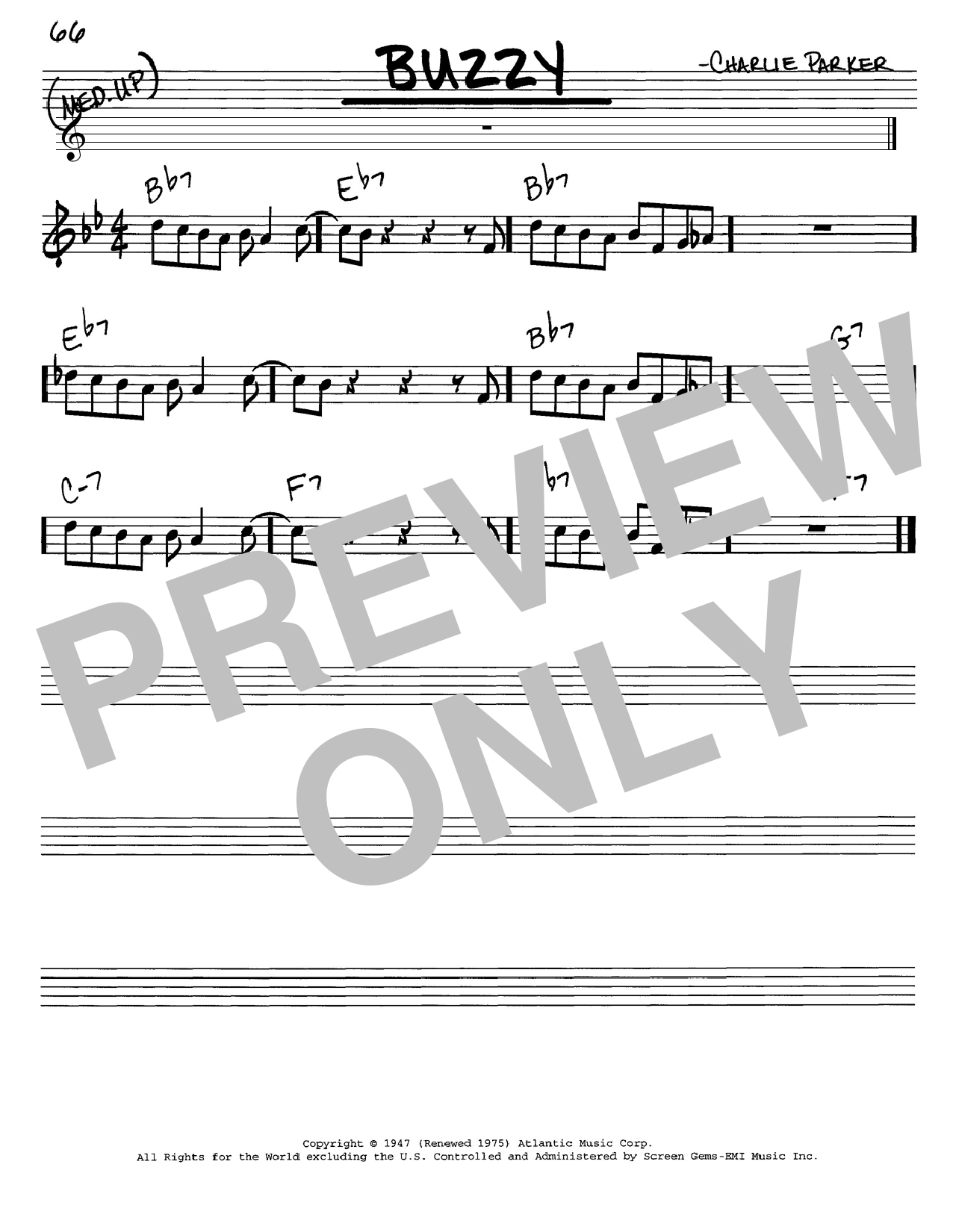 Charlie Parker Buzzy sheet music notes and chords. Download Printable PDF.