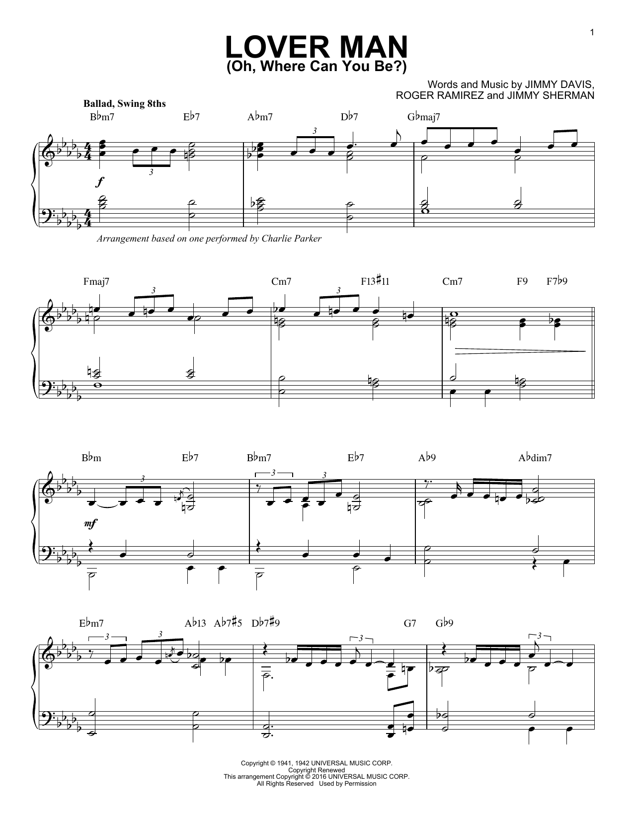 Charlie Parker Lover Man (Oh, Where Can You Be?) sheet music notes and chords