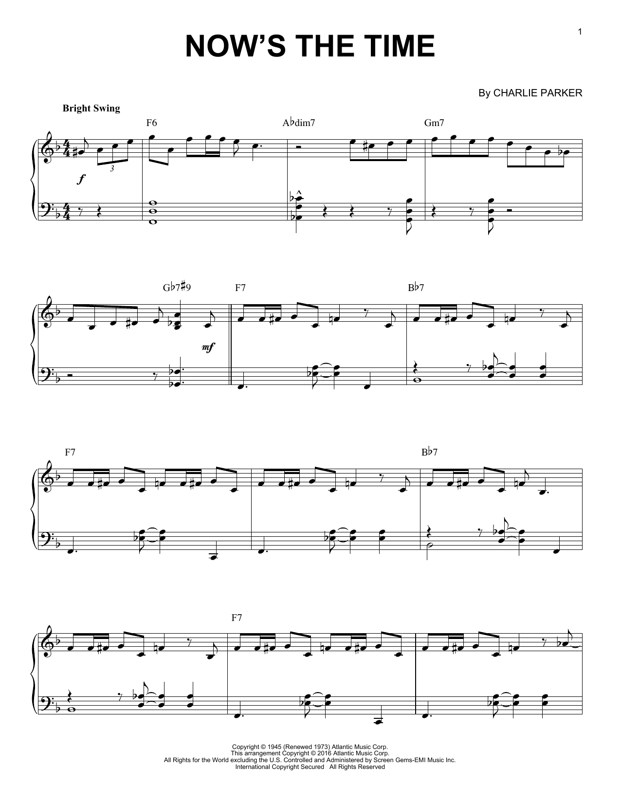 Charlie Parker Now's The Time (arr. Brent Edstrom) sheet music notes and chords. Download Printable PDF.