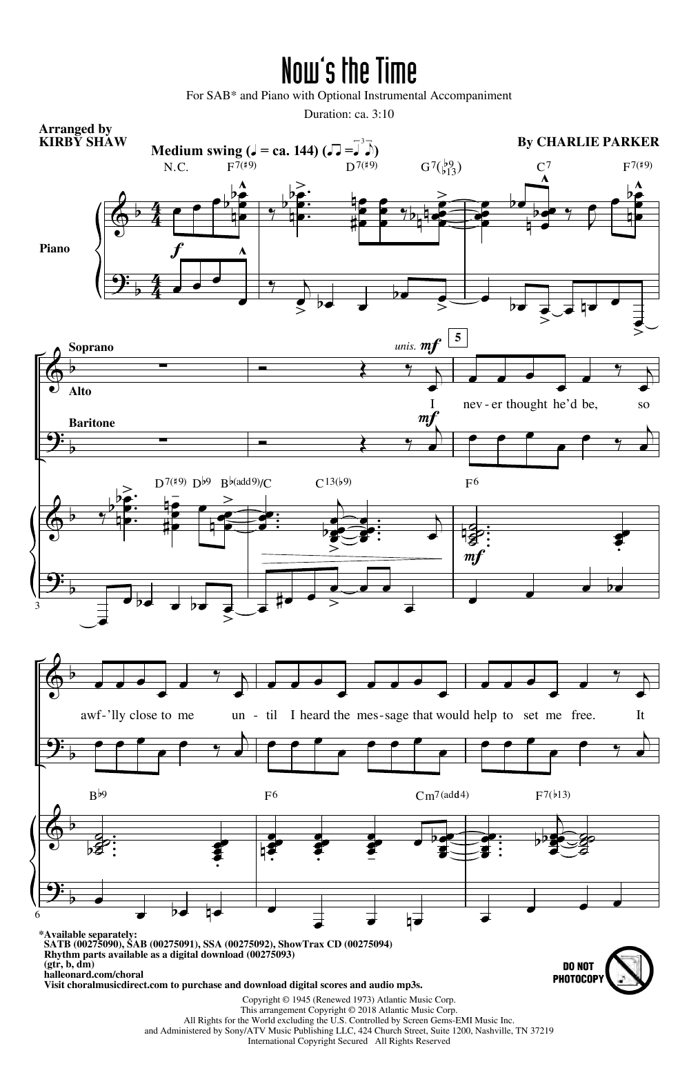 Charlie Parker Now's The Time (arr. Kirby Shaw) sheet music notes and chords. Download Printable PDF.