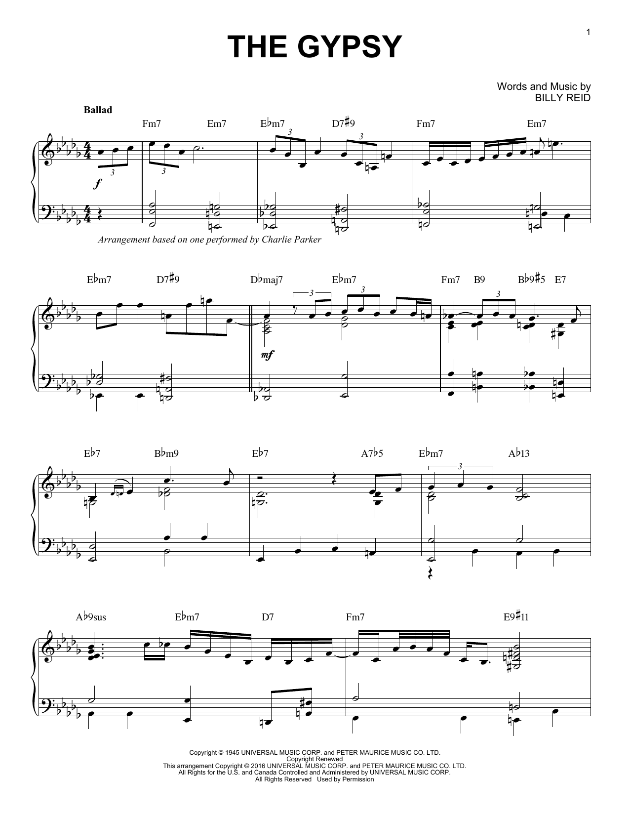 Charlie Parker The Gypsy (arr. Brent Edstrom) sheet music notes and chords. Download Printable PDF.