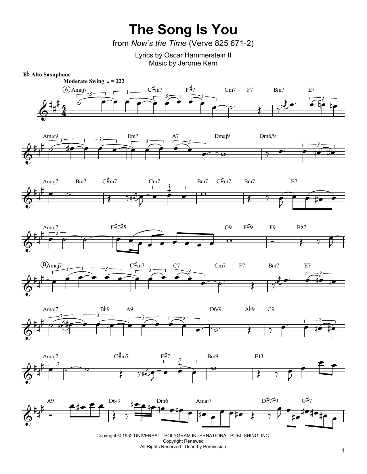 Charlie Parker The Song Is You sheet music notes and chords. Download Printable PDF.