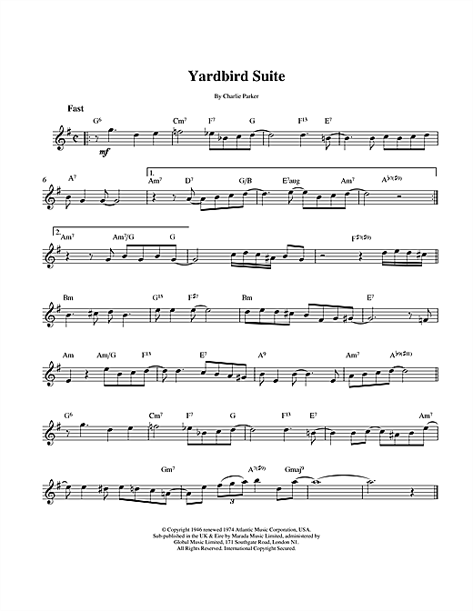 Charlie Parker Yardbird Suite sheet music notes and chords. Download Printable PDF.