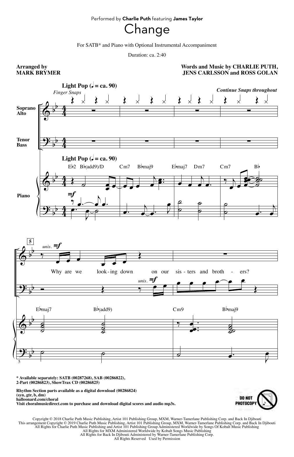 Charlie Puth Change (feat. James Taylor) (arr. Mark Brymer) sheet music notes and chords. Download Printable PDF.