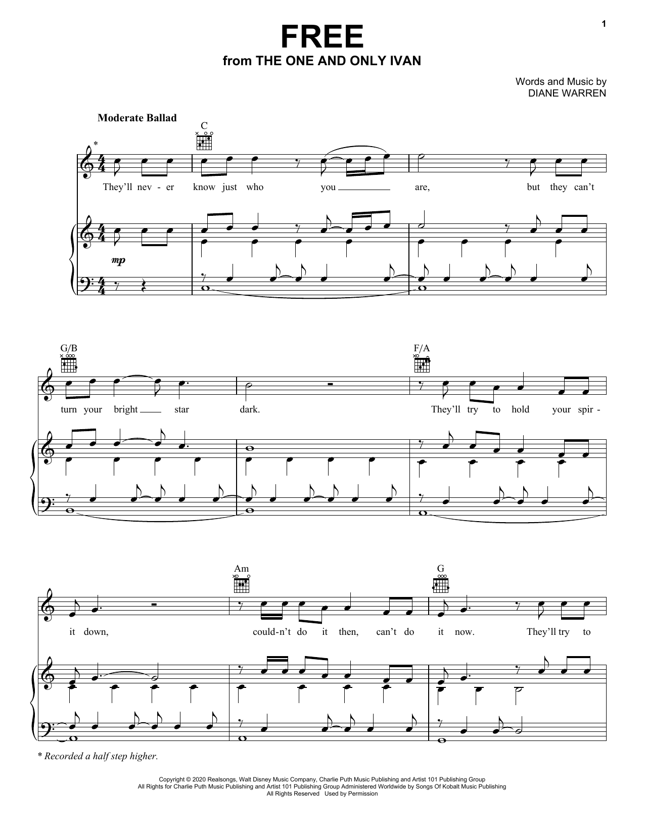 Charlie Puth Free (from Disney's The One And Only Ivan) sheet music notes and chords. Download Printable PDF.