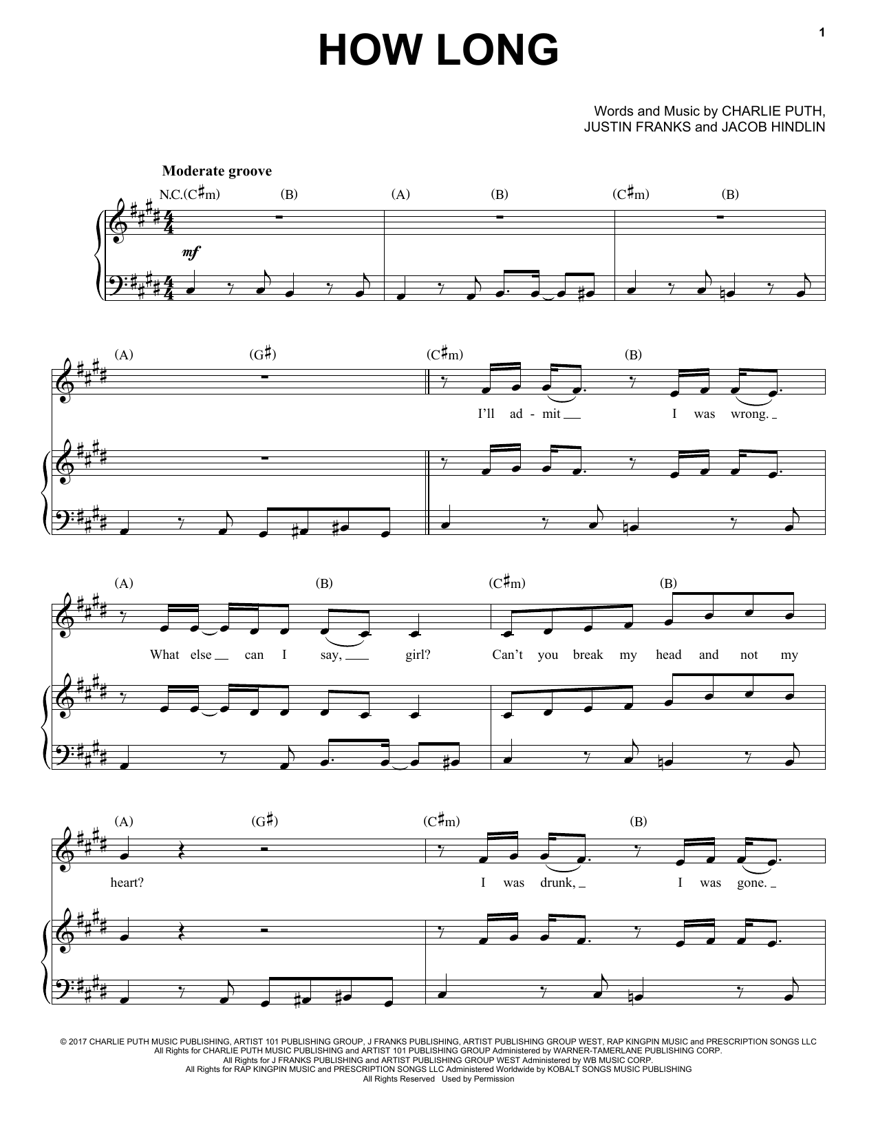 Charlie Puth How Long sheet music notes and chords