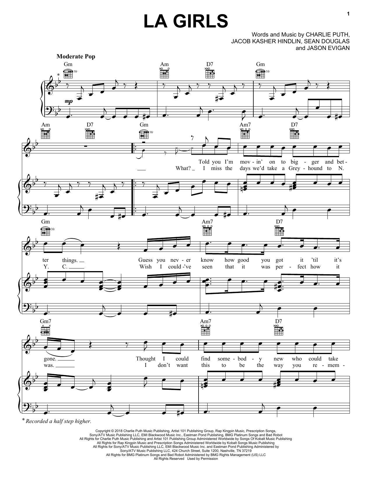 Charlie Puth LA Girls sheet music notes and chords