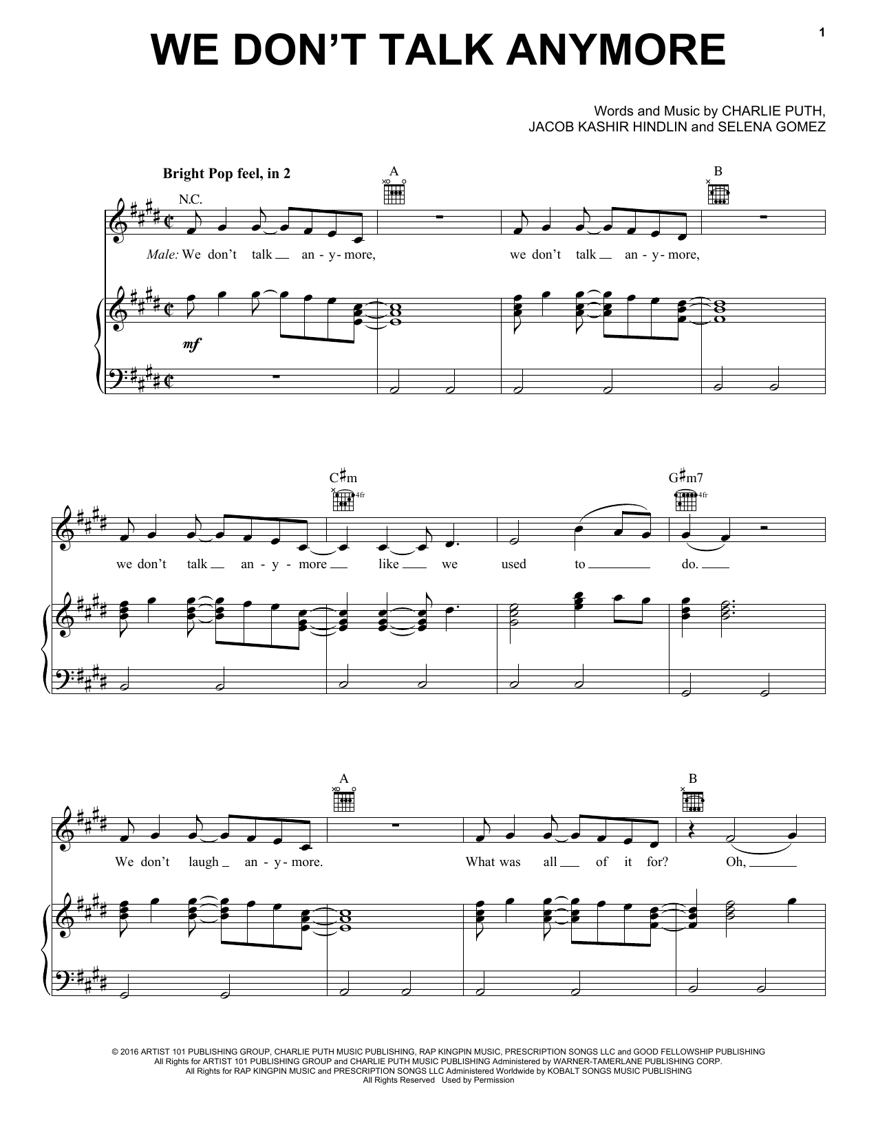 Charlie Puth We Don't Talk Anymore (feat. Selena Gomez) sheet music notes and chords. Download Printable PDF.