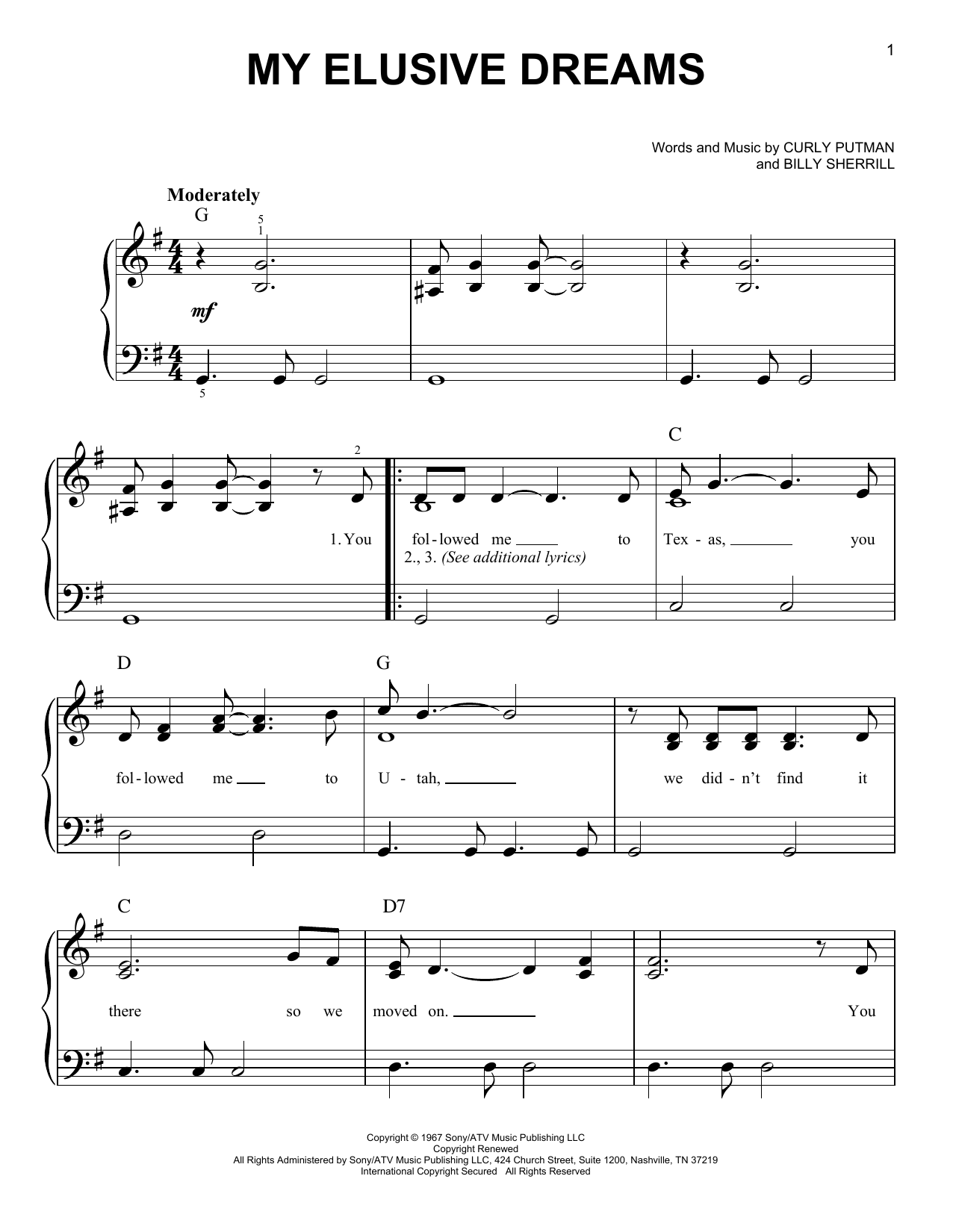 Charlie Rich My Elusive Dreams sheet music notes and chords. Download Printable PDF.