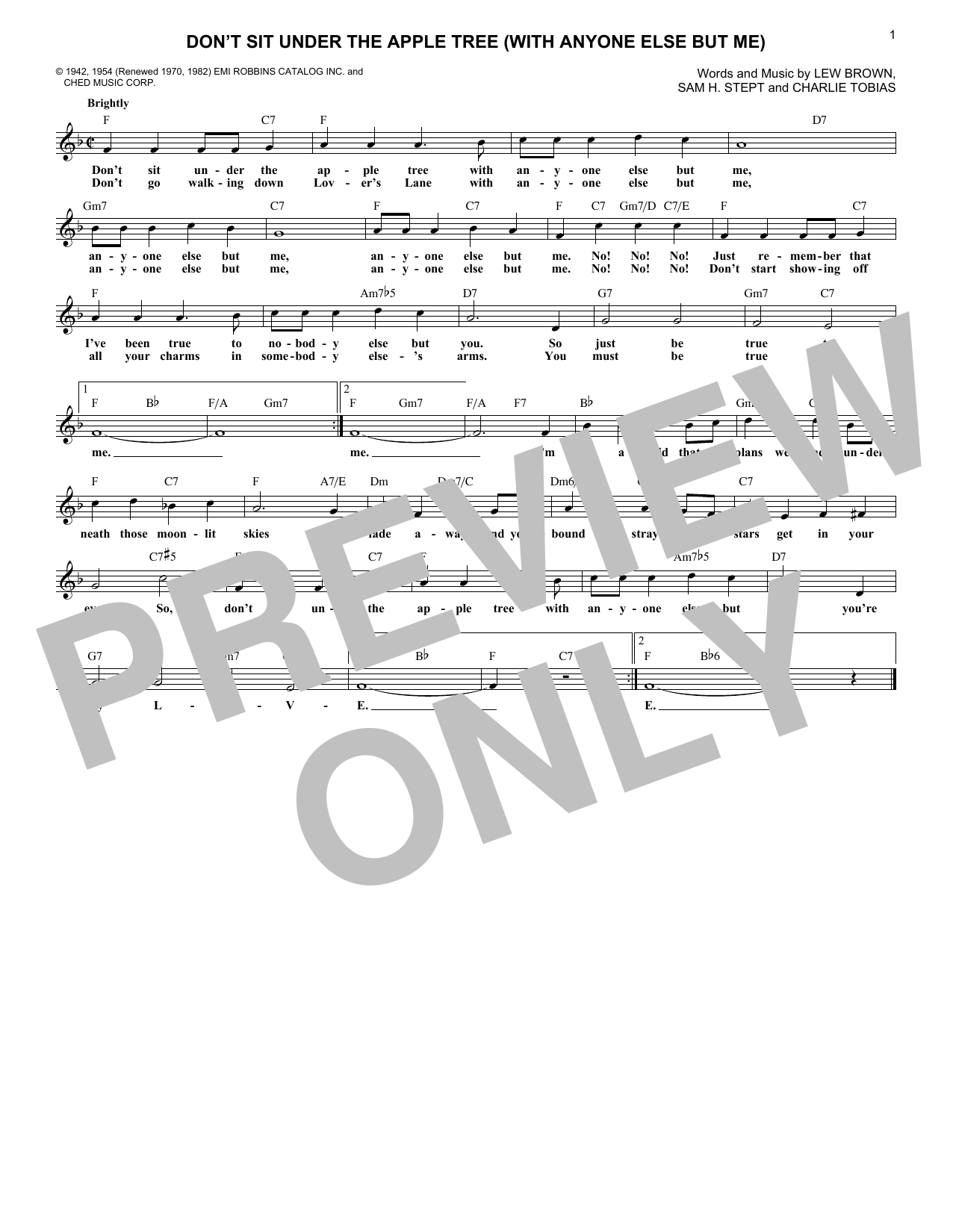 Charlie Tobias Don't Sit Under The Apple Tree (With Anyone Else But Me) sheet music notes and chords. Download Printable PDF.