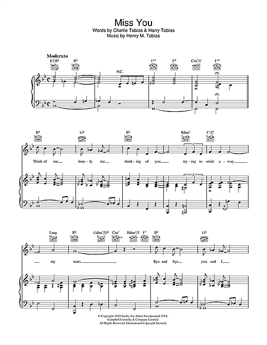 Charlie Tobias Miss You sheet music notes and chords. Download Printable PDF.