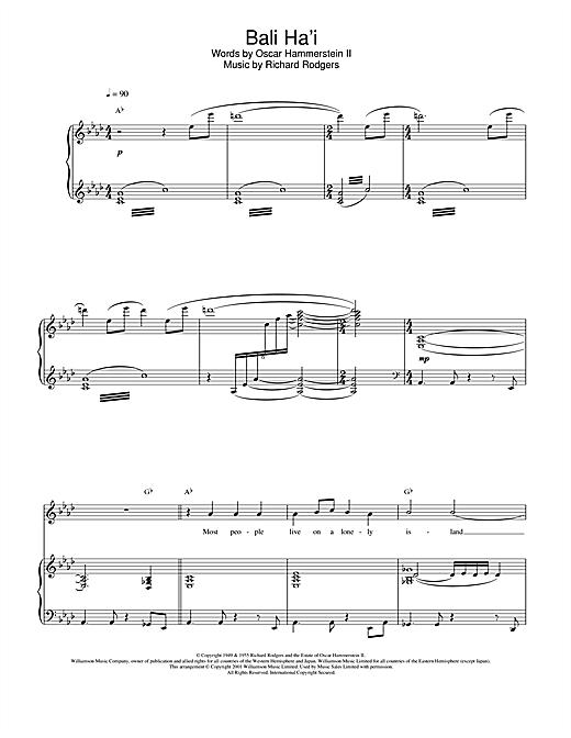 Charlotte Church Bali Ha'i sheet music notes and chords