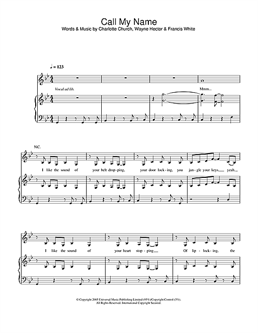 Charlotte Church Call My Name sheet music notes and chords. Download Printable PDF.