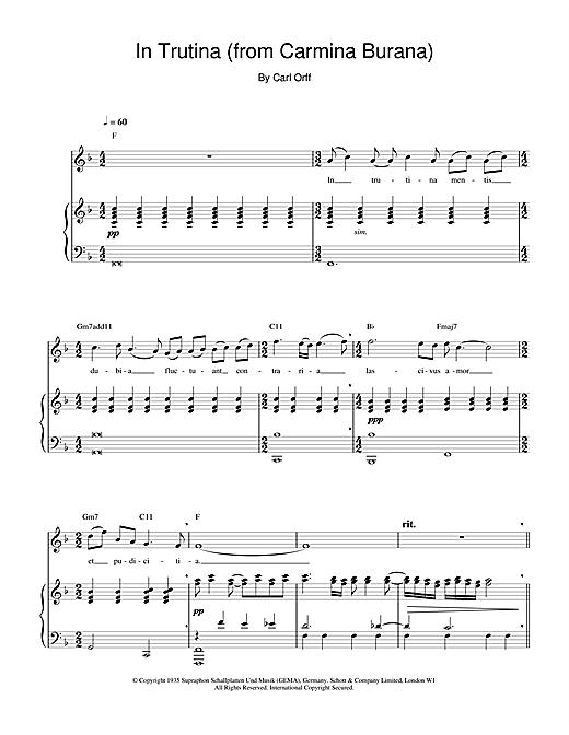 Charlotte Church In Trutina (from Carmina Burana) sheet music notes and chords