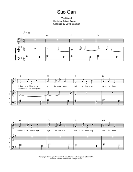 Charlotte Church Suo Gan sheet music notes and chords. Download Printable PDF.