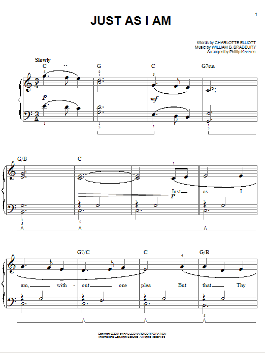 Charlotte Elliott Just As I Am sheet music notes and chords. Download Printable PDF.