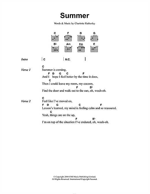 Charlotte Hatherley Summer sheet music notes and chords. Download Printable PDF.