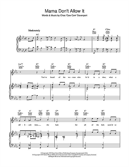 Chas 'Cow Cow' Davenport Mama Don't Allow It sheet music notes and chords. Download Printable PDF.