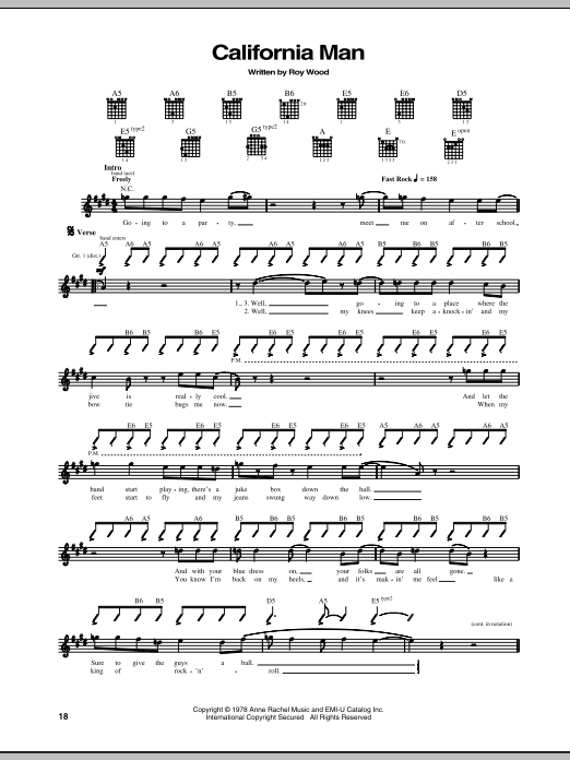 Cheap Trick California Man sheet music notes and chords. Download Printable PDF.