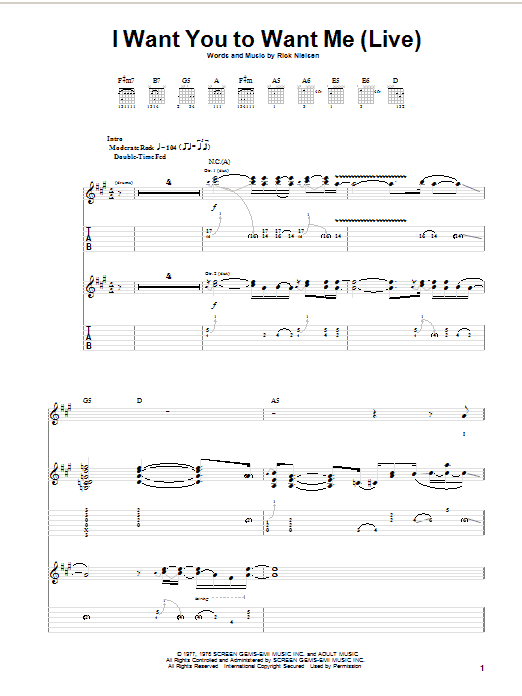 Cheap Trick I Want You To Want Me (Live) sheet music notes and chords